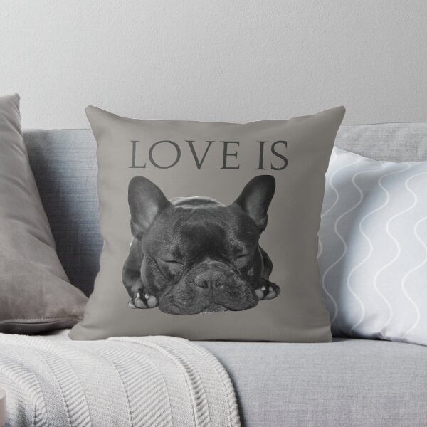 Love Is French Bulldog Throw Pillow