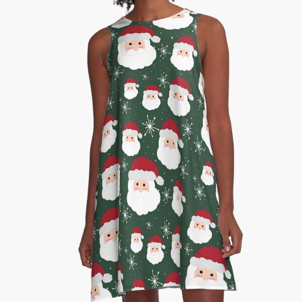 Santa & Snowflakes A-Line Dress