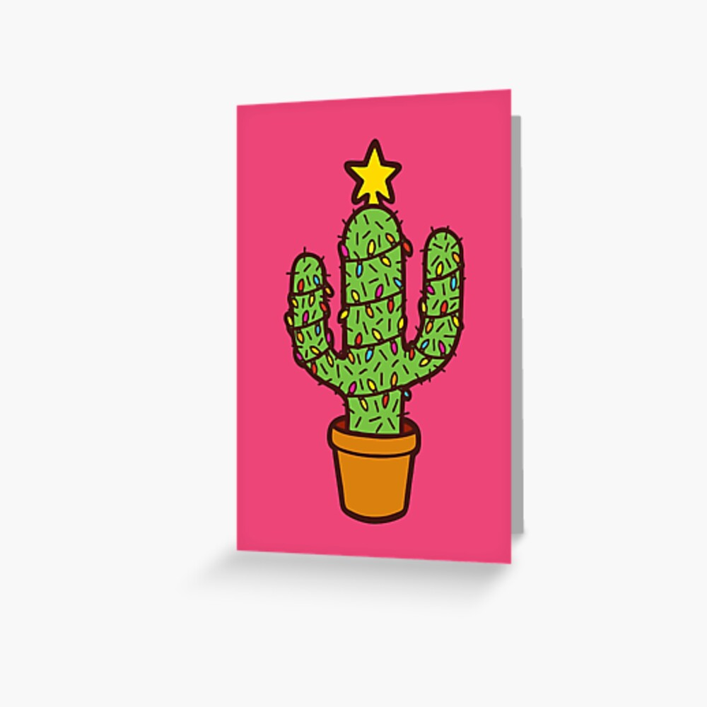 Cactus Christmas Tree in Pink Greeting Card