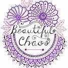 'Beautiful Chaos' Mandala Typography Illustration Purple by Alifya Designs