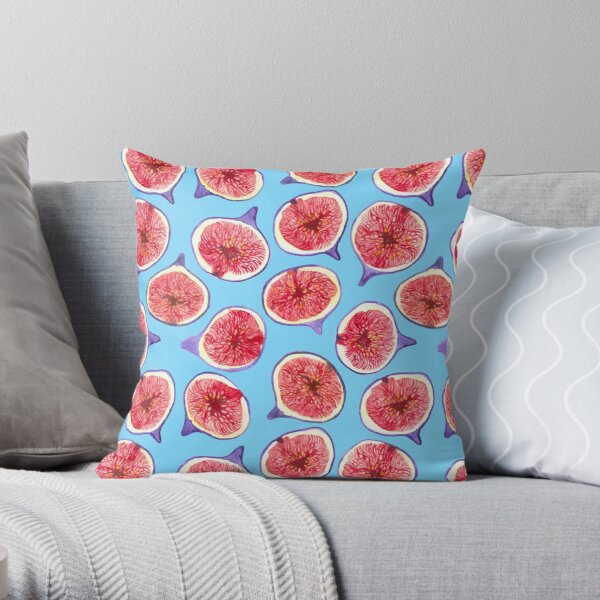 Fig slices watercolor pattern Throw Pillow