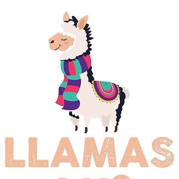 Llama Love With Scarf Lama Cartoon Gift by UltimateTWorld