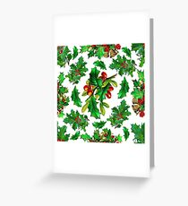 Christmas Holly Pattern on White Background Greeting Card