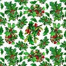 Christmas Holly Pattern on White Background by LaRoach