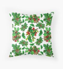 Christmas Holly Pattern on White Background Throw Pillow