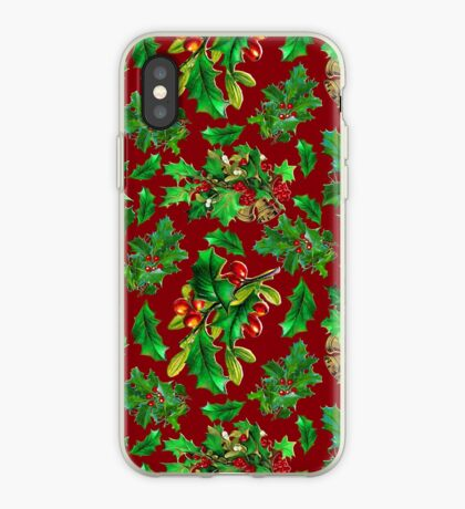Vintage Christmas Holly Pattern on Dark Red Background iPhone Case
