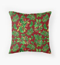 Vintage Christmas Holly Pattern on Dark Red Background Throw Pillow
