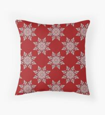 Holiday Snowflake Pattern #3 on Red Background Throw Pillow