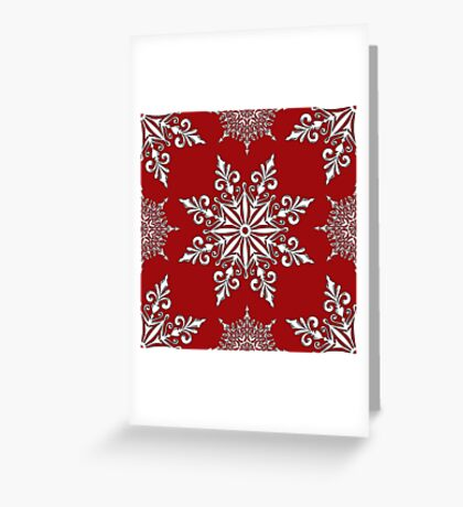 Holiday Snowflake Pattern #2 on Red Background Greeting Card