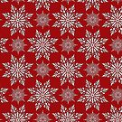 Holiday Snowflake Pattern #2 on Red Background by LaRoach