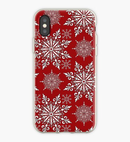 Holiday Snowflake Pattern #1 on Red Background iPhone Case