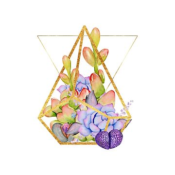 Succulent Geometry gold wire geometric frames by Glimmersmith