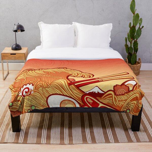 The Great Ramen Wave Throw Blanket