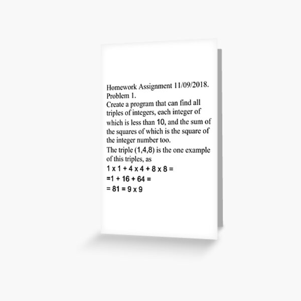Homework Assignment, #Homework #Assignment, #HomeworkAssignment, #Number Greeting Card