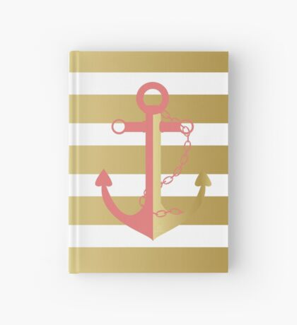 AFE Nautical Pink and Gold Anchor Hardcover Journal