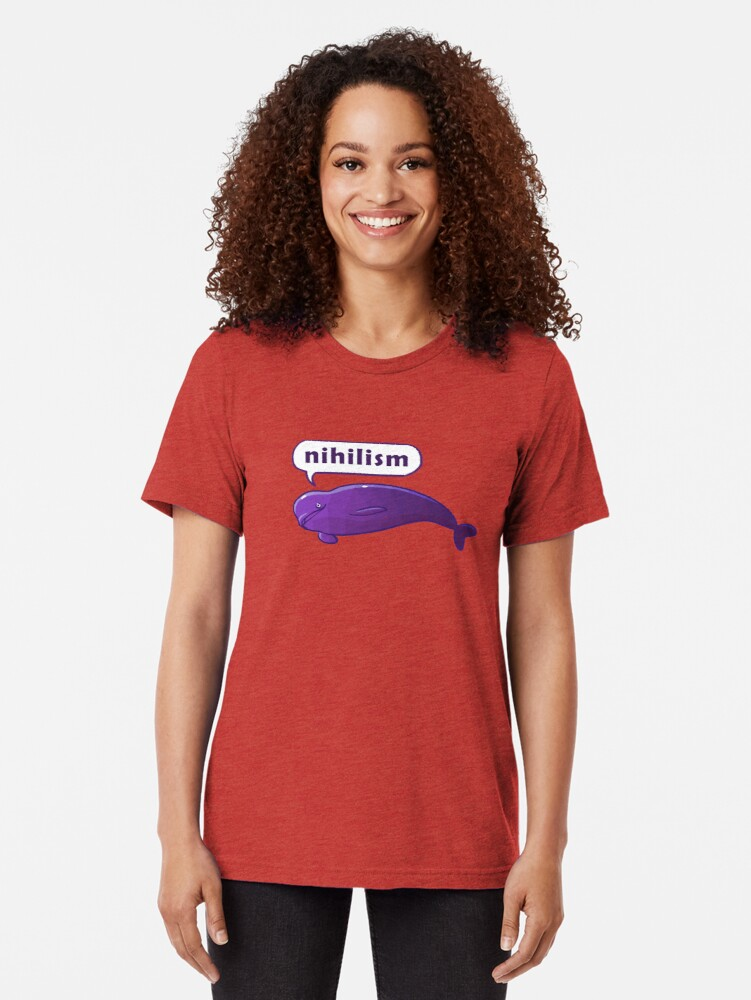 Alternate view of Existentiwhale: Nihilism Tri-blend T-Shirt