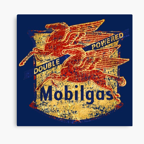 Double Powered Pegasus vintage Mobilgas sign Canvas Print