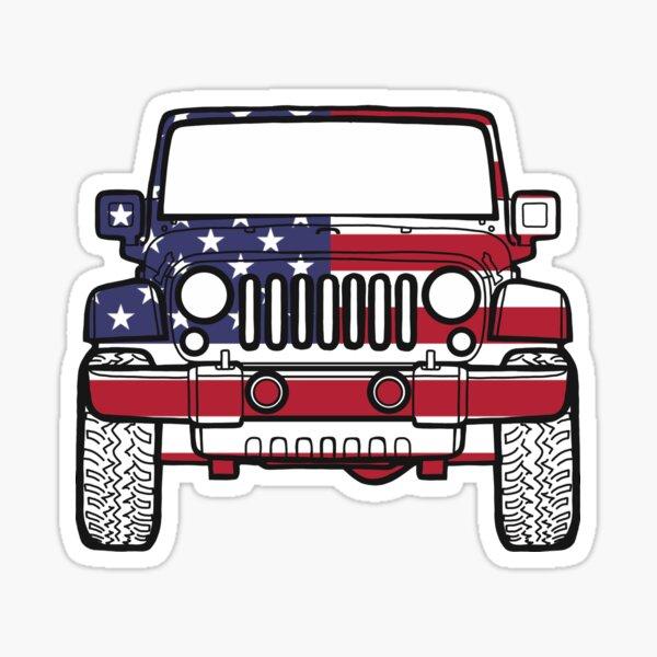 American Flag Jeep Sticker