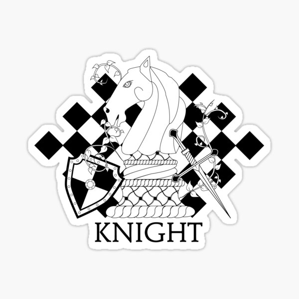 Black and White Knight Chess Piece with Shield and Sword Sticker