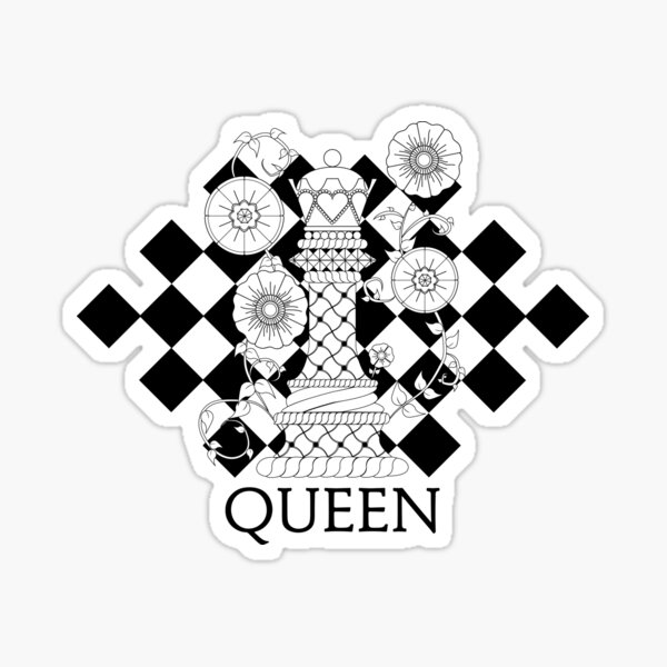 Black and White Queen Chess Piece with Twisted Vines and Flowers Sticker