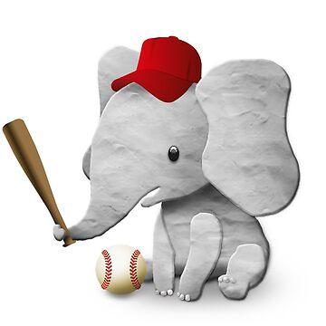 Baseball All-star Cute Elephant Boy by pencilplus