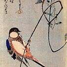 A Bird On A Wisteria by Utagawa Hiroshige (Reproduction) by Roz Abellera