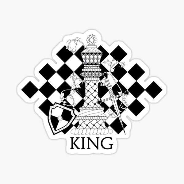 Black and White King Chess Piece with Shield, Sword, and Twisted Vines Sticker