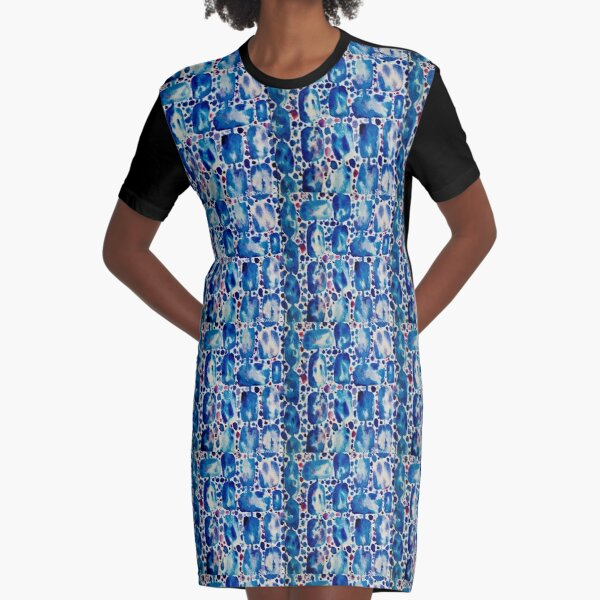 Wet on Wet: Blue, Red, Purple. Graphic T-Shirt Dress