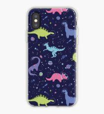 Weltraum-Dinosaurier in einem purpurroten Himmel iPhone-Hülle & Cover