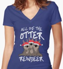 All of the Otter Reindeer Women's Fitted V-Neck T-Shirt