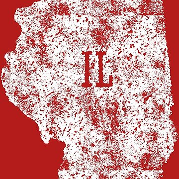 Illinois distressed State Map Abbreviation IL White by Chocodole