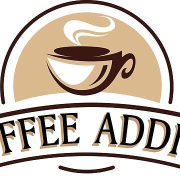 Coffee Addict -  funny, sticker,  by estudio3e