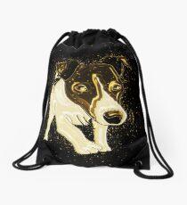 Dog funny golden Gold Drawstring Bag