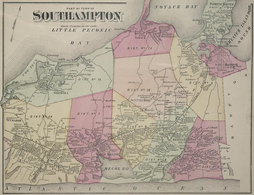 «Mapa Vintage de Southampton NY (1873)» de BravuraMedia