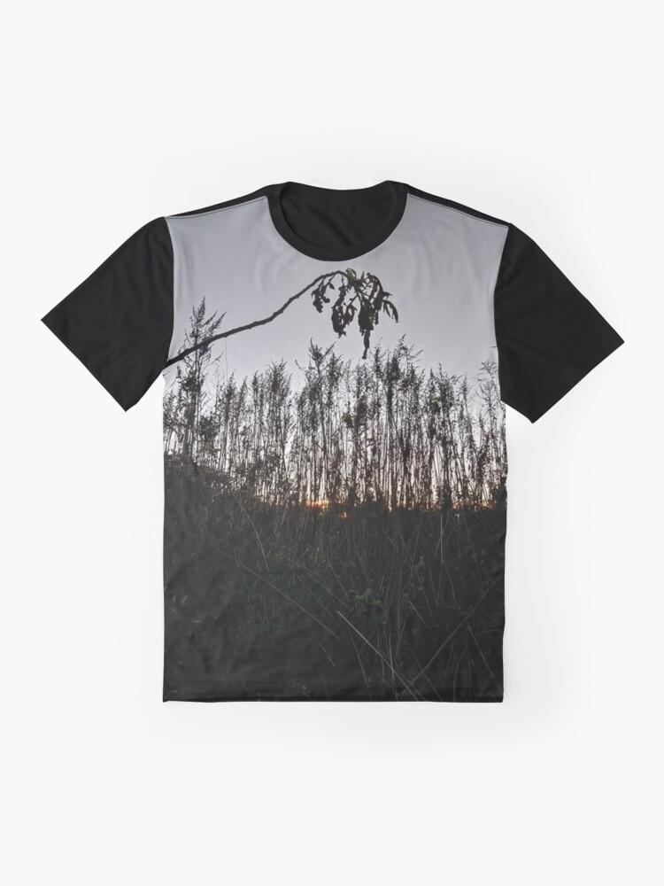 Alternate view of #plant #leaf #morning #grass #landscape #tree #sky #nature #outdoors #wood #environment #weather #vertical #branch #plantpart #nopeople #sunrise #dawn #light #naturalphenomenon #nonurbanscene #day Graphic T-Shirt