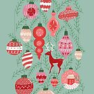 Mid-Century Ornaments in Mint + Red by latheandquill