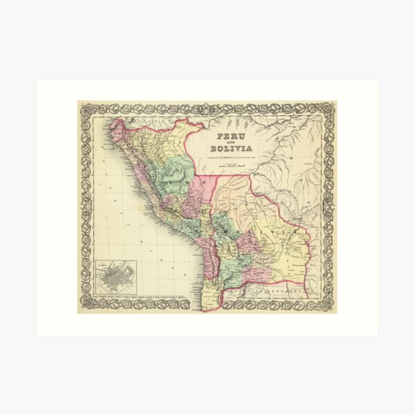 Vintage Map of Peru and Bolivia (1856) Art Print