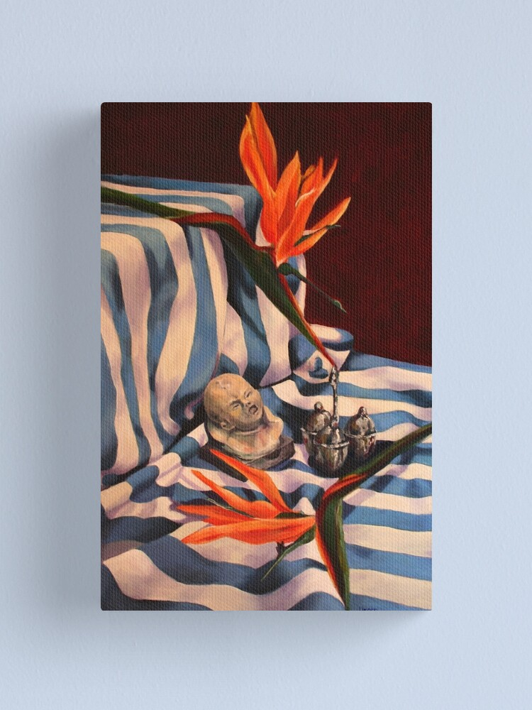 Alternate view of Orange Flowers and Blue Cloth Canvas Print