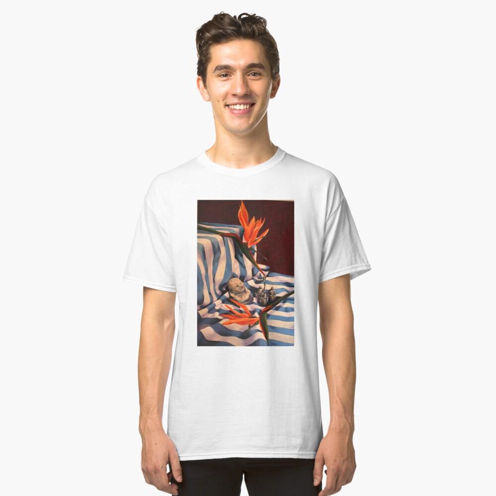 Orange Flowers and Blue Cloth Classic T-Shirt