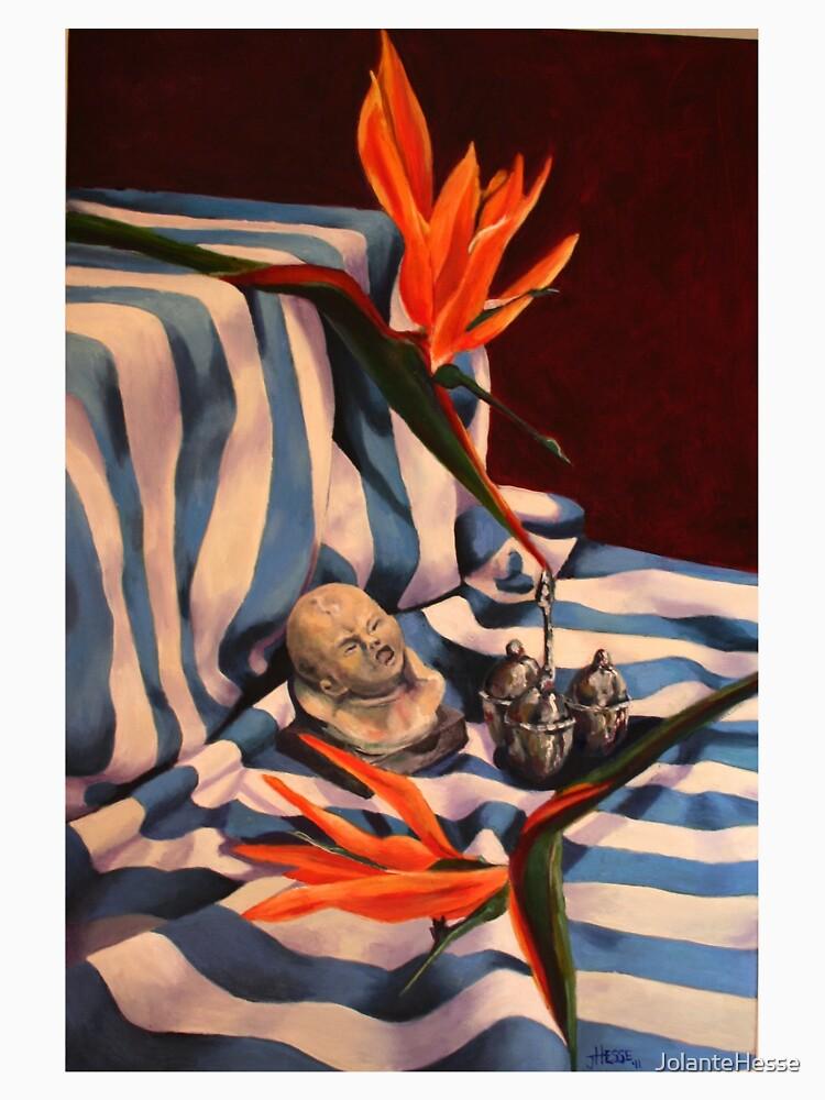 Orange Flowers and Blue Cloth by JolanteHesse