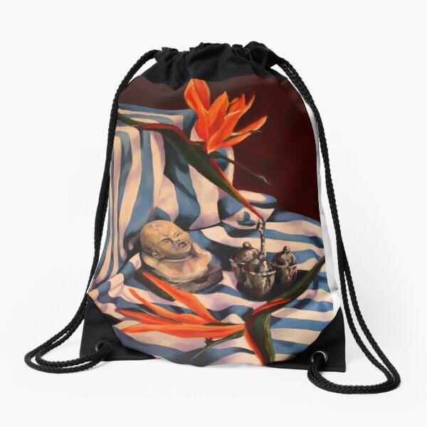 Orange Flowers and Blue Cloth Drawstring Bag