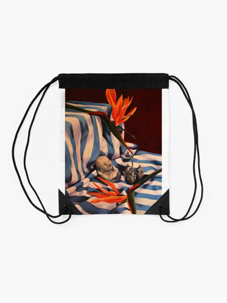 Alternate view of Orange Flowers and Blue Cloth Drawstring Bag
