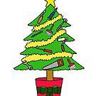 Handyman Happy Christmas, Cartoon Tree. by KateTaylor