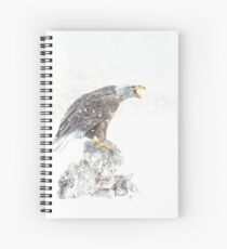 Bald eagle in snowstorm Spiral Notebook