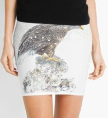 Bald eagle in snowstorm Mini Skirt