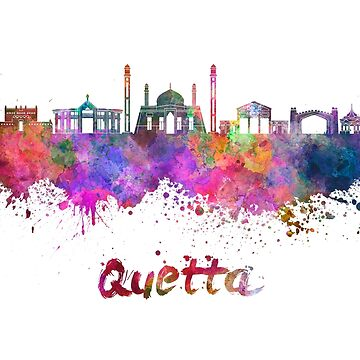 Quetta skyline in watercolor splatters  by paulrommer