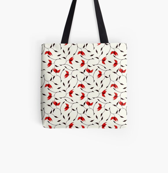 Delicate Red Flower Pattern All Over Print Tote Bag