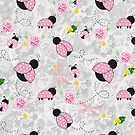 Pretty in Pink Roses Ladybugs Dragonfly by purplesensation
