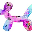 colourful balloon dog mixed media art by MandalaArts