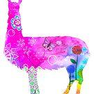 Llamma mixed media colourful art silhouette by MandalaArts